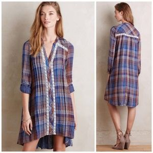 Anthro Holding Horses Plaid Button Front Dress